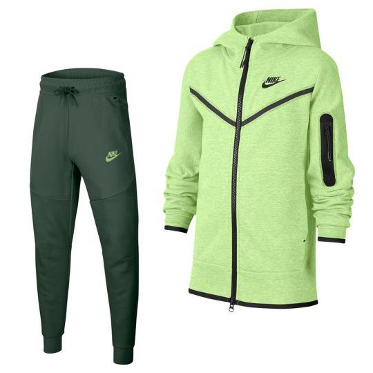 Nike Tech Fleece Trainingspak Kids Groen Donkergroen