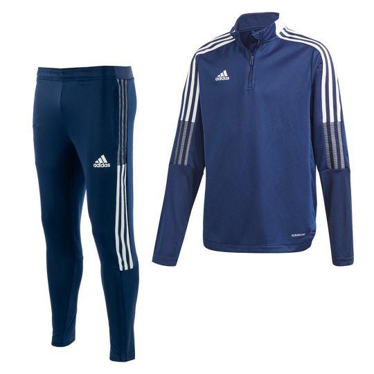 adidas Tiro 21 Trainingspak Slim Kids Donkerblauw Wit