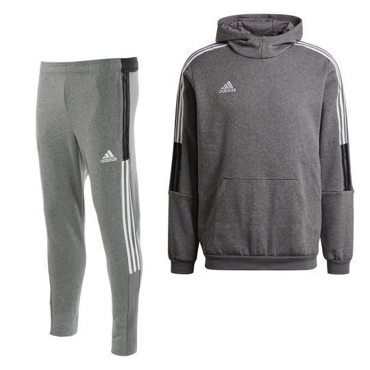 adidas Tiro 21 Sweat Trainingspak Grijs Wit