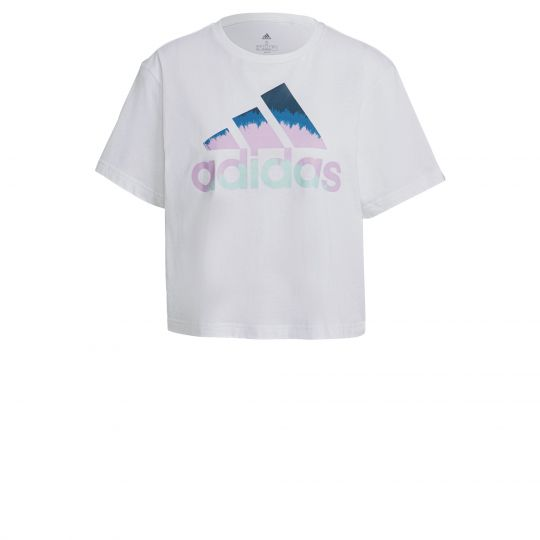 adidas Graphic Cropped T-shirt Dames Wit Roze Blauw