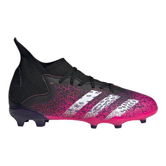 adidas Predator Freak.3 Gras Voetbalschoenen (FG) Kids Zwart Wit Roze
