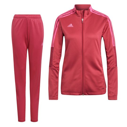 adidas Tiro 21 Full Zip Trainingspak Vrouwen Rood Roze