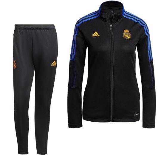 adidas Real Madrid Full-Zip Trainingspak 2021-2022 Dames Zwart