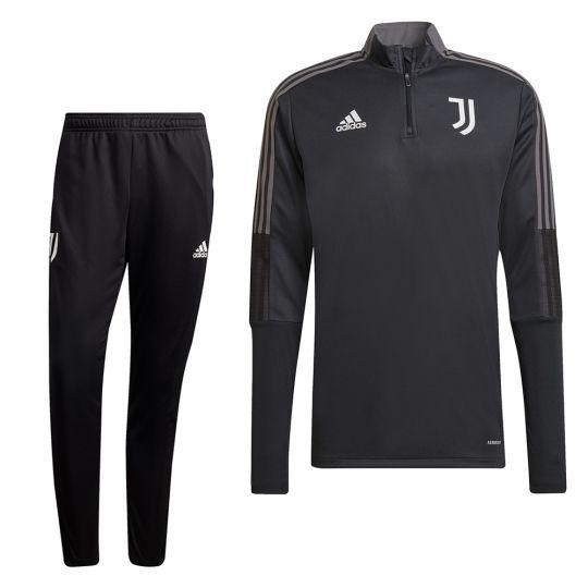 adidas Juventus 1/4 Trainingspak 2021-2022 Grijs Zwart