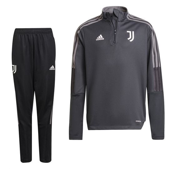 adidas Juventus 1/4 Trainingspak 2021-2022 Kids Grijs Zwart